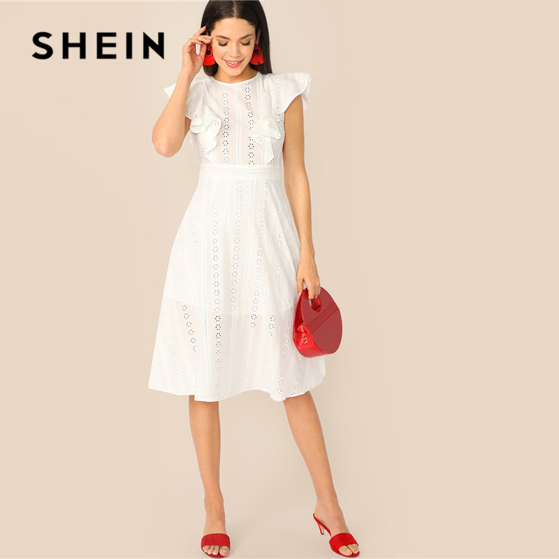 Шеин отделкой рюшами Schiffy Бохо белое платье Для женщин без рукавов летнее платье дамы хлопок Высокая Талия линии платье миди