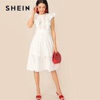 SHEIN Ruffle Trim Schiffy Boho White Dress Women Solid Sleeveless Summer Dress Ladies Cotton High Waist A Line Midi Dress