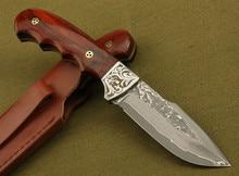 Handmade forged Damascus steel hunting knife 58 HRC Damascus Steel fixed knife ebony handle with Leather sheath
