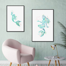 Pictures Canvas Nordic Style Paintings Home Decor Mermaid Wall Art HD Prints Hotel Watercolor For Living Room Poster Modular(China)