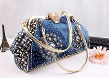 Chic Denim Fireworks Rhinestones Women Handbag Top Handle Patchwork Ladies Shoulder Bag Clutch
