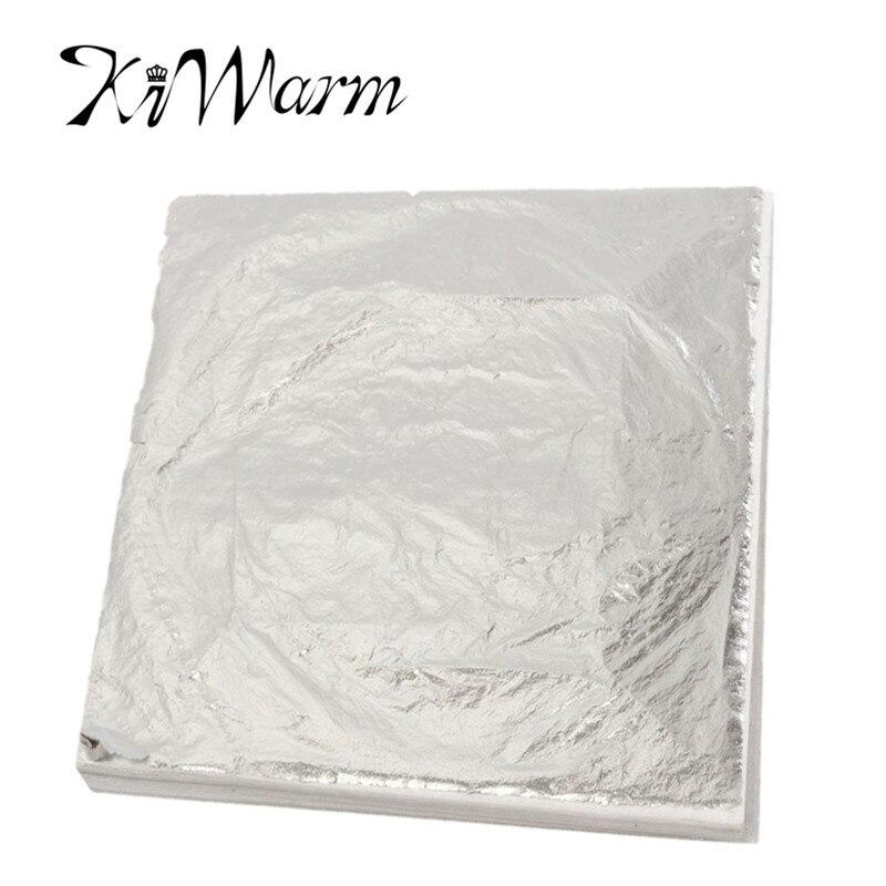 Hot sale 100 sheets 14x14cm imitation silver leaf foil for Silver foil paper craft