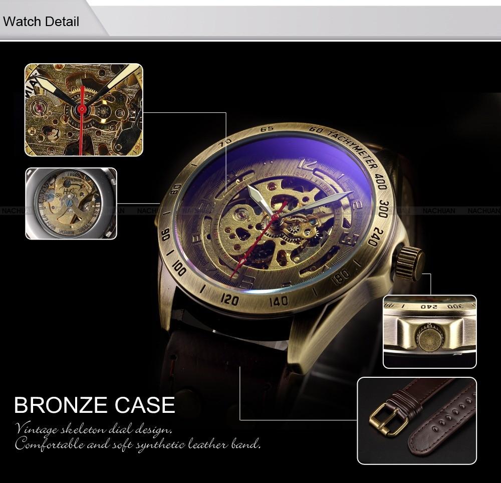 Luksusowe marki męska retro bronze steampunk szkielet automatyczne mechaniczne relogio skórzane sportowe męskie w stylu vintage casual wrist watch 3