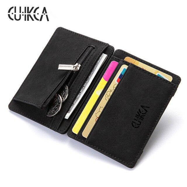 CUIKCA Magic Wallet Magic Money Clip cremallera monedas monedero Carteira Unisex Nubuck cuero Delgado billetera ID tarjetas de crédito fundas