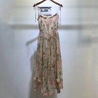 Bohemian 100% Silk Dress For Women Spaghetti Strap Long Dress 2019 High Quality Fashion Printed Flower Dress A Line Dress women