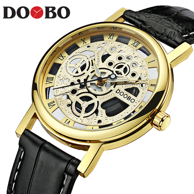 Skeleton Quartz Watch Men Sports Men Watches Top Brand Luxury Hour Date Clock Man Leather Strap Military Army Waterproof DOOBO weide new men quartz casual watch army military sports watch waterproof back light men watches alarm clock multiple time zone