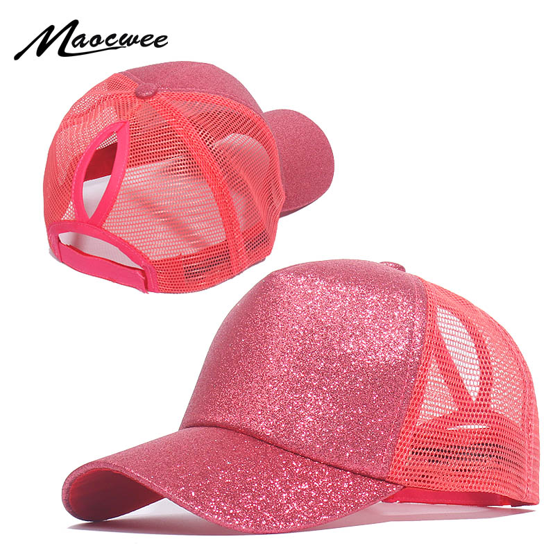 <font><b>Glitter</b></font> <font><b>Ponytail</b></font> <font><b>Baseball</b></font> <font><b>Cap</b></font> <font><b>Women</b></font> Snapback Summer Mesh Hat Female Messy Bun Hats Casual Adjustable Streetwear Hip Hop <font><b>Cap</b></font> 2019 image