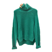 Knitted Pullover Turtleneck Sweater Winter Woman Sweater Knitting Pullovers Green Gray Solid Slim Autumn Sweaters