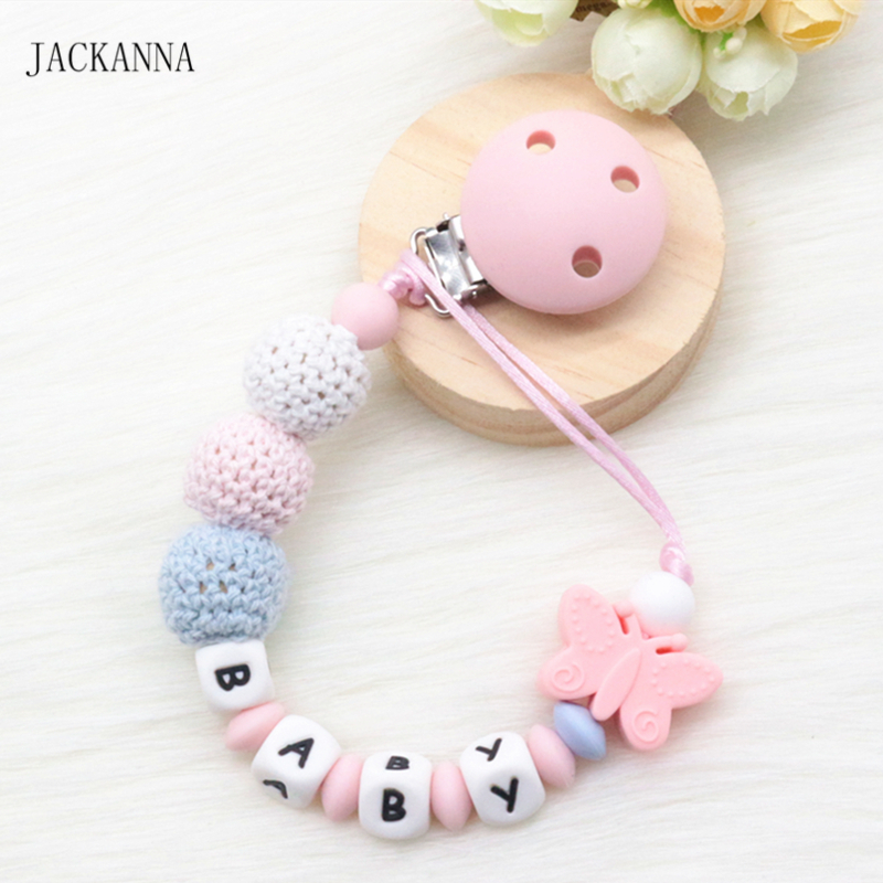 Personalized Name Baby Pacifier Clips DIY Crochet Bead Soother Clip BPA Free Attache Sucette Silicone Baby Pacifier Holder Chain