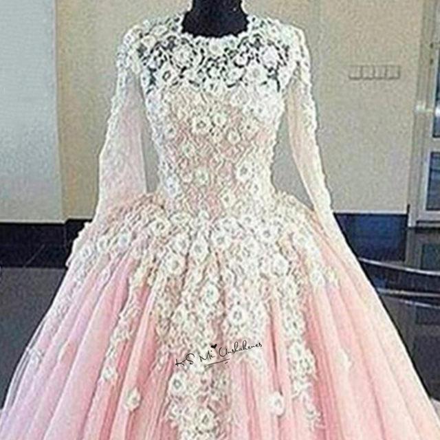 Online Shop Princess White Lace Flowers Pink Wedding Dress Boho ...