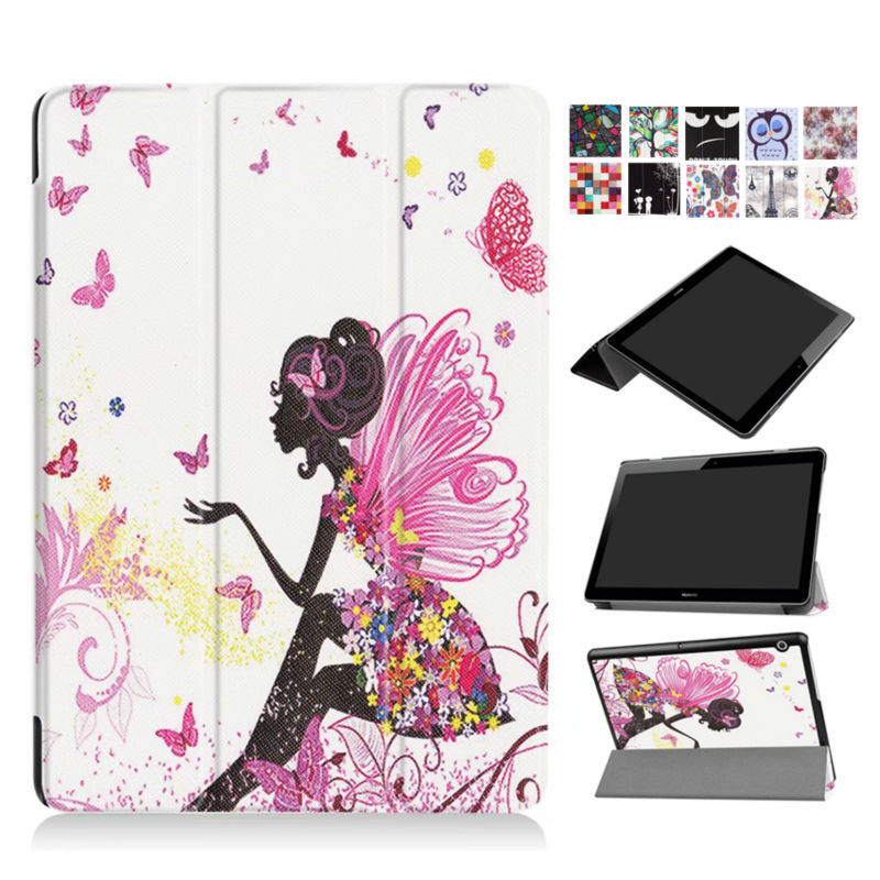 MediaPad T3 10.0 9.6'' Slim PU Leather case Cover Colorful Print Fundas For Huawei T3 10 AGS-L09 AGS-L03 Tablet Cases Stand Skin mediapad m3 lite 8 0 skin ultra slim cartoon stand pu leather case cover for huawei mediapad m3 lite 8 0 cpn w09 cpn al00 8