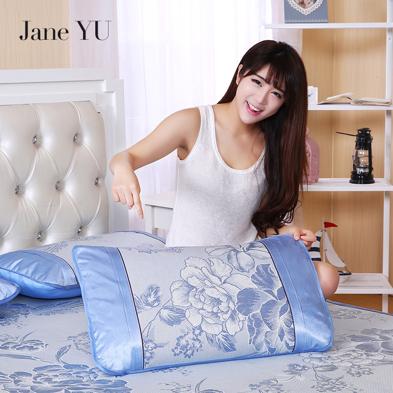 JaneYU 24 Colors Summer/Autumn/Spring ice silk 2Pcs pillow cases Cool and beautiful rattan mat pillowcases cooling pillowcase