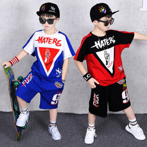 Image 1 - Children Clothing Sports Suit Boy Summer Set Two piece Childrens Wear stitching suit 4 6 8 10 12 14 16 Years old Child clothes