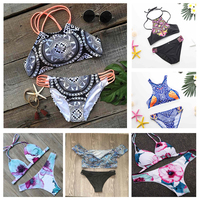2017 Brazilian Bikini Women Sexy Micro Swimwear Off Shoulder Swimsuit Floral Bathing Suit High Neck Biquini