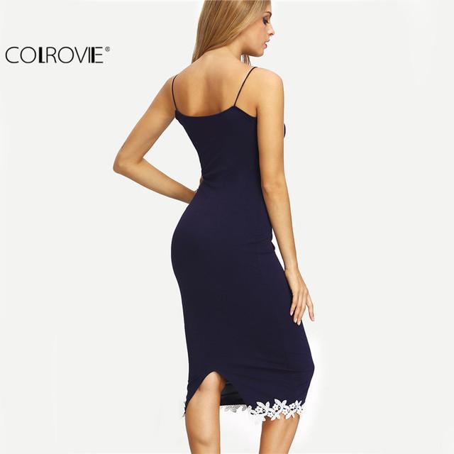 COLROVIE Women Navy Contrast Lace Split Back Sheath Midi Bodycon Dresses Spaghetti Stripe Summer Sexy Fitness Pencil Dress