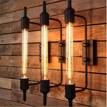 Free Shipping Vintage Black Steam Pipe Metal Wall Sconces Fixtures Lights Bar Wall Lamps 1 Free Retro Bulb