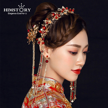 HIMSTORY Retro Chinese Style Traditional Bridal Headdress Hairpin  Red Pearls Gold Long Tassel Headband Wedding Accessories