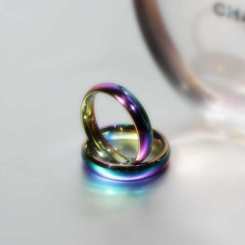 4mm Rainbow Colorful Ring Titanium Steel Ring for Men and Women