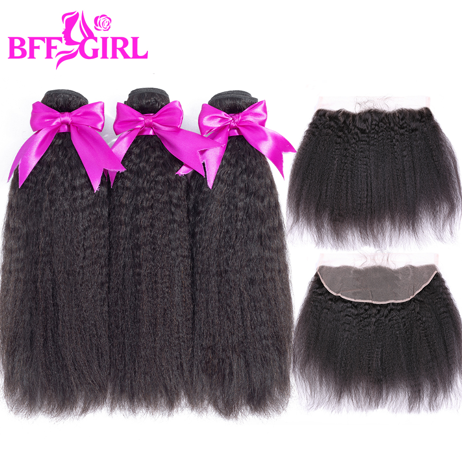 BFF GIRL Brazilian Kinky Straight Hair 3 Bundles With Frontal Human Hair Bundles With Frontal Non