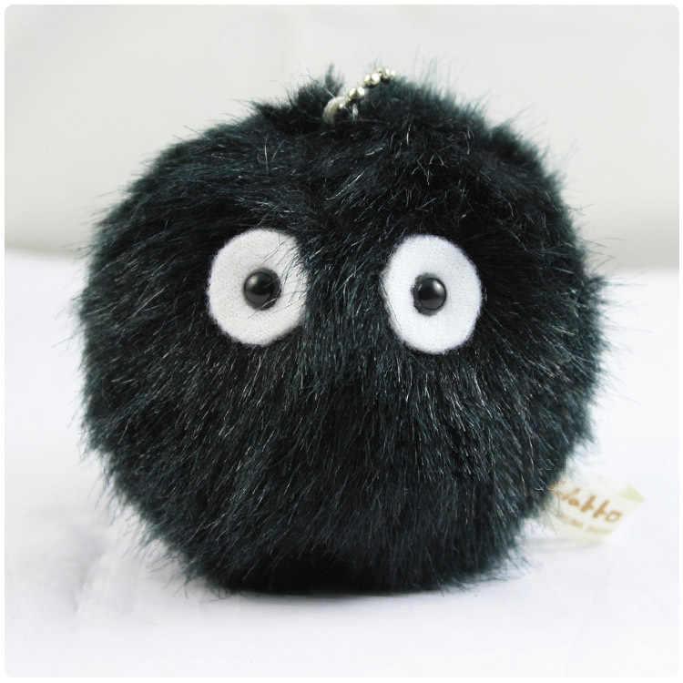 Anime totoro pingente fiapos brinquedos carvão carvão briquete poeira bola preta material de cabelo longo mochila decoração/chave pingente