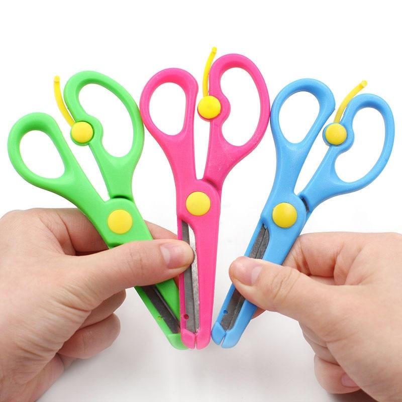 DIY Scrapbook Mini Safety Round Head Plastic Metal Scissors Student Kids Paper Cutting Supplies For Kindergarten School Office