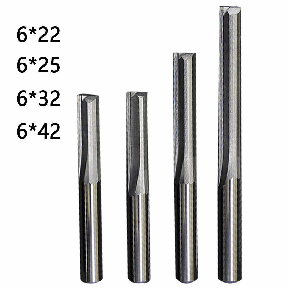 Milling Cutter 6mm/4mm Shank Two Flutes Straight Router Bits for Wood CNC Straight Engraving Cutters End Mill Tools