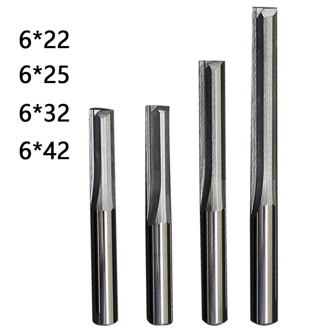 Milling Cutter 1pc 6mm/4mm Shank Two Flutes Straight Router Bits For Wood CNC Straight Engraving Cutters End Mill Tools
