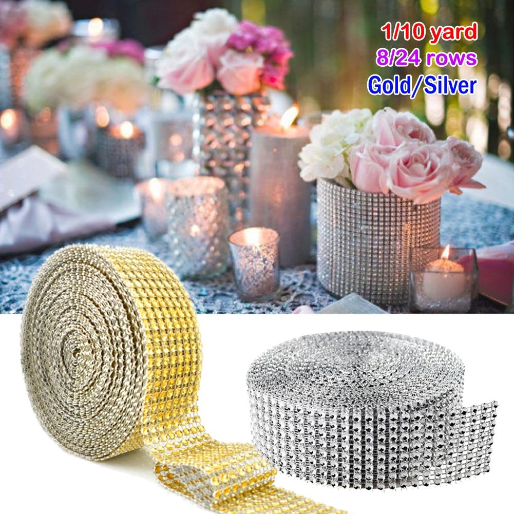 Diamond Metallic Mesh Overlay 12 Rows Square Tiles Bling Ribbons Premium Wedding