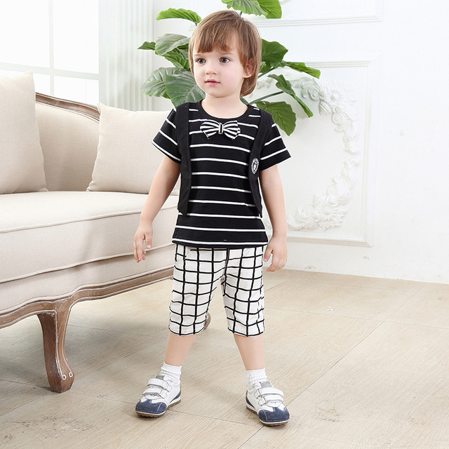 2016 Summer Causal Bow Tie Striped T-shirt+Plaid Shorts Cotton Toddler Boy Clothing Set