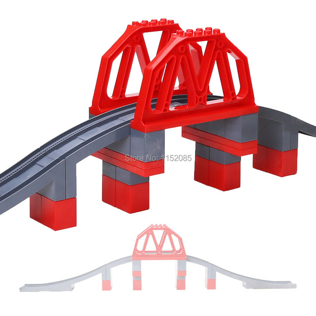 26 unids/set Carretera Puente Grande Bloques de Construcción de Tren Ferroviario Establece Niños Juguetes DIY Compatible con Duploe Regalo de Navidad