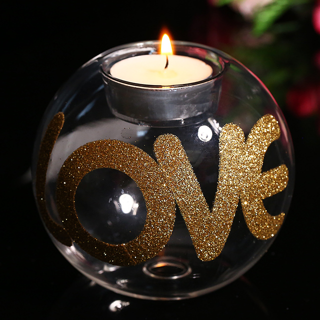 Round Glass Candle Holder With Gold Love Letter Valentine Day Candlestick Wedding Decorative Gift Home Table Freeship