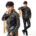 2016 New fashion Nightclub Male singer Black Tassel Male Leather Jacket outwear  party show stage wear performance leather pants