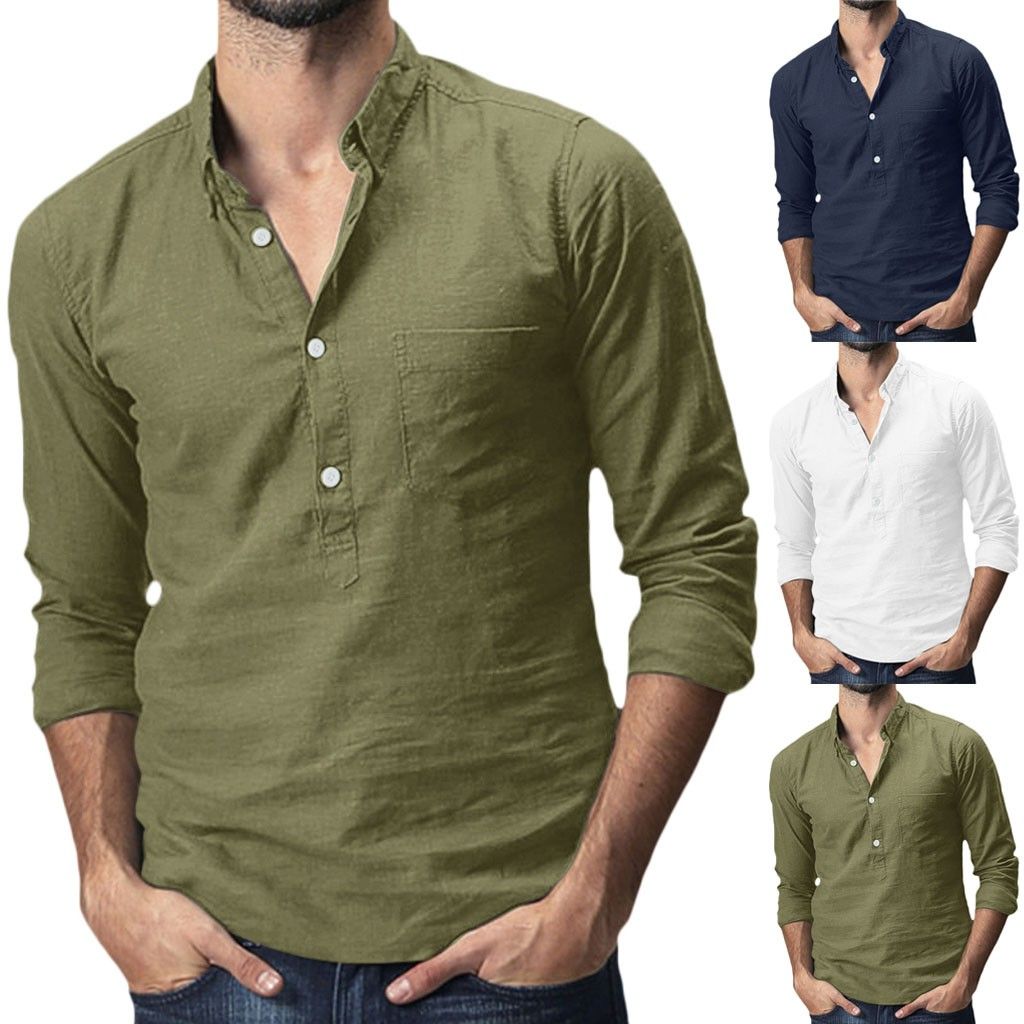 Men's Baggy Cotton Linen Solid Pocket Long Sleeve Turn-down Collar Shirts Tops M-3XL