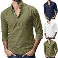 2019 verão masculina de linho de algodão sólido multi-bolso manga curta turn-down colarinho camisas camisa havaiana masculina