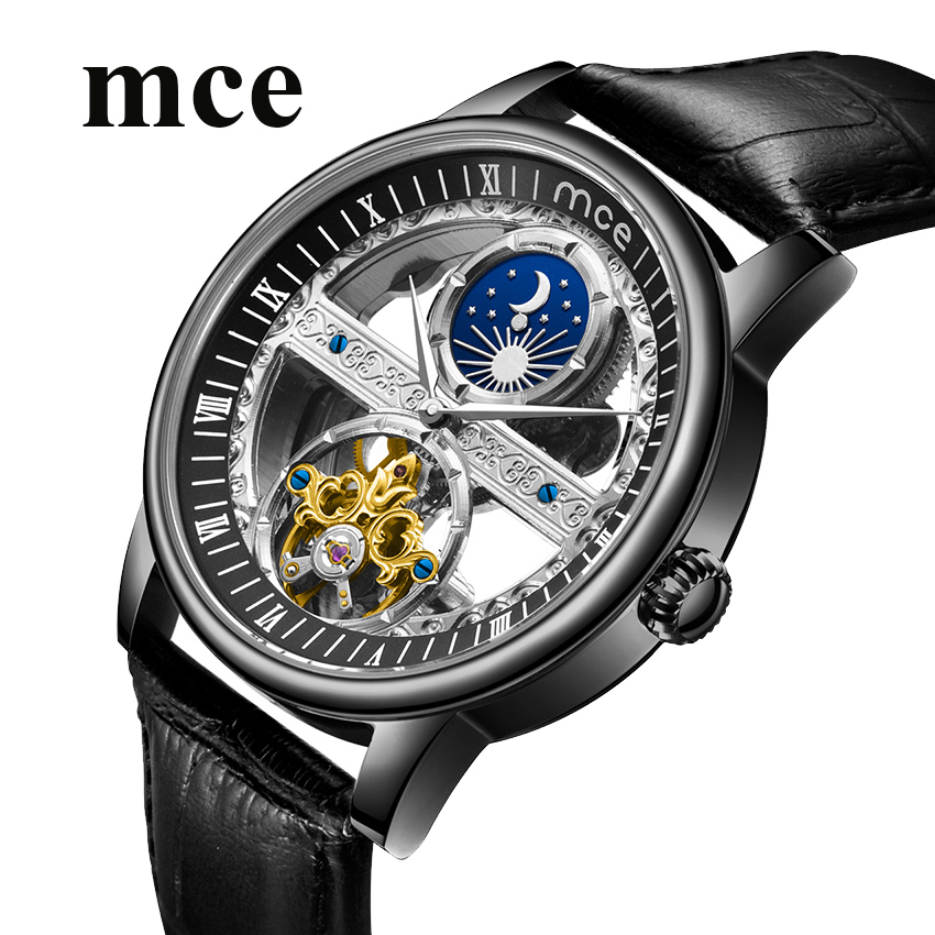 MCE Steampunk Transparent squelette montre hommes volant automatique en cuir mécanique montres lune Phase horloges mannen livraison directe