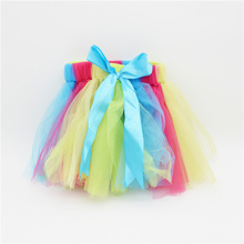 2015  Baby Skirt Pure Handmade Skirts Rainbow tutu Trim Sewn Puffy Girl show Party Clothes Free Shipping