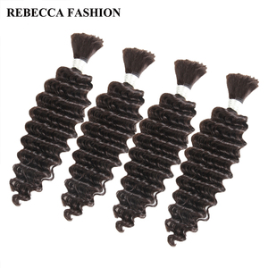 Image 3 - Rebecca 4 Bundles Deals Human Braiding Hair Bulk Braiding Remy Indian Deep Wave Hair Extension Crochet Free Shipping