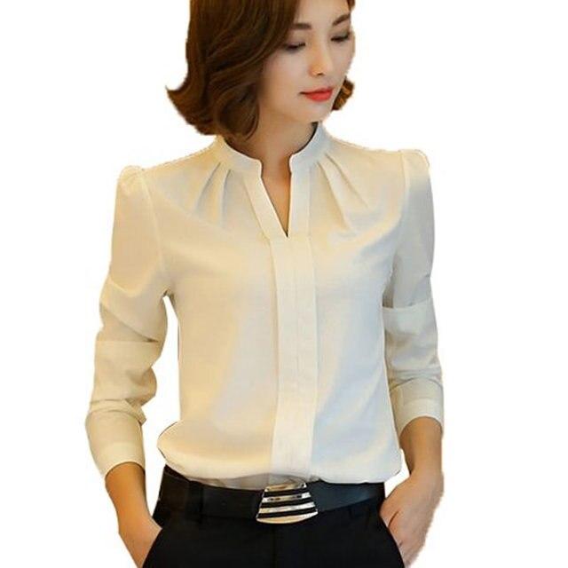 9fb6f8b834c2 Mulheres Blusas Nova Chegada de Moda Primavera Outono Estilo Coreano Manga  Longa Chiffon Senhoras Blusa Escritório