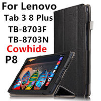 Case Cowhide For Lenovo Tab 3 8 Plus P8 Smart Cover Genuine Leather Tablets Protective 8