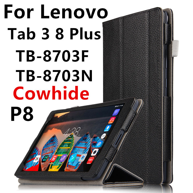 Case Cowhide For Lenovo Tab 3 8 Plus P8 Smart Cover Genuine Leather Tablets Protective 8 inch For TB-8703F TB-8703N Protector protective print flower leather case for lenovo p8 tab 3 tab 4 8 plus 8 0 tb 8703f n tb 8704f n printing pattern stand cover