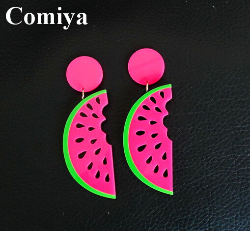 Summer punk style earring color drop Watermelon pendants dangle earring brincos jewelry cc acrylic long pendientes for girls