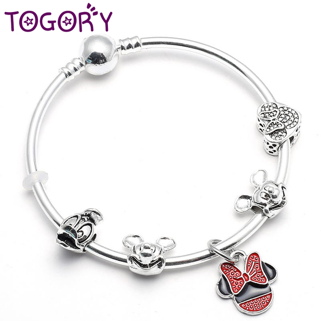 9c4d8a4e5 TOGORY Simple Mickey & Minnie Pendant Charms Bracelet & Bangles For Women  with Pandora Bracelet For
