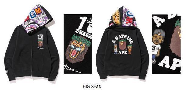 377189f3d94b UNHS BAPE New York ten anniversary limited BIG SEAN camouflage hoodie coat  spot shark