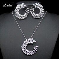 DOKOL Nieuw Marquise AAA Zirconia Bruiloft Sieraden Sets voor Vrouwen Zilveren Kleur Bladvorm Bridal Bijoux DKS0067