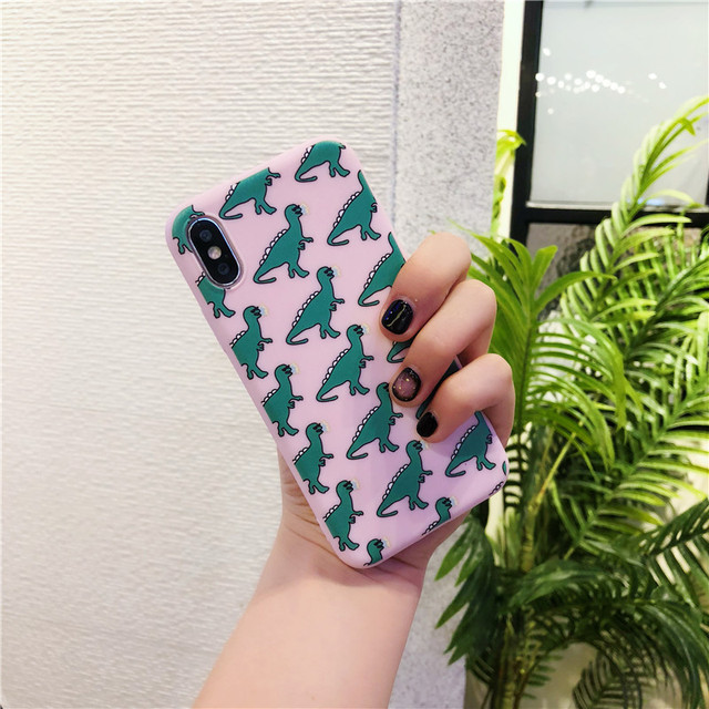 Matte Cute Dinosaur Patterned Phone Case For iPhone
