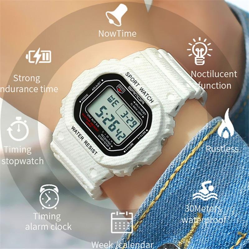 SANDA Women Watches Fashion Sport White Blue Band LED Digital Waterproof Quartz Movement Ladies Women's Wristwatches