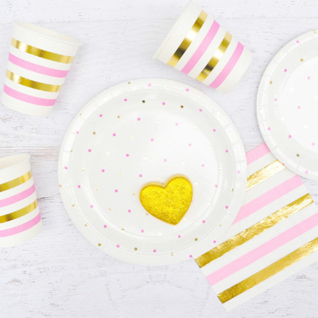 Pink Gold Dots Wedding Disposable Tableware Set Striped Party Decoration Paper Plates Cups Napkins Bags Straws  sc 1 st  AliExpress.com & Pink Gold Dots Wedding Disposable Tableware Set Striped Party ...