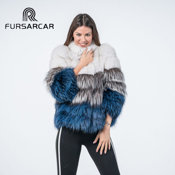FURSARCAR 60 CM Long Real Fox Fur Coat Women Winter New Design Natural Silver Thick Warm Genuine Female Jacket