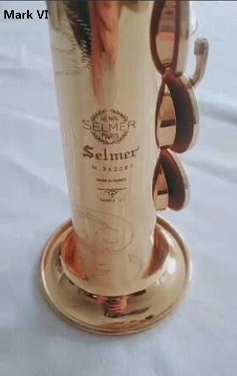 Mark VI Selmer soprano saxophone High quality France 802 model drop Bb Music electrophoresis gold soprano saxophone with Case
