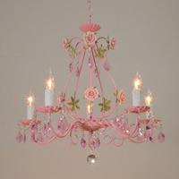 Pink Wedding Iron Rose Garden Lighting Restaurant Lighting Bedroom Chandelier Modern Crystal LED Ceiling Lamp Lights